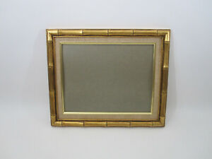 Vtg Mid Century 1 25 Faux Bamboo Picture Frame Art Wood Gold Gilt Glass 11x14