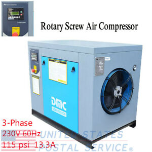 Hpdmc 230v 60hz Rotary Screw Air Compressor 3 phase 10hp 39cfm 115psi Us