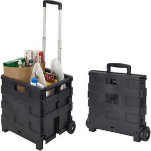 Easy Collapsible Folding Rolling Smart Cart With Wheels For Groceries Shopping