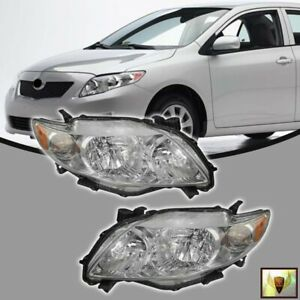 Fits For 2009 2010 Toyota Corolla Headlights Focos Chrome Housing Headlamp Set