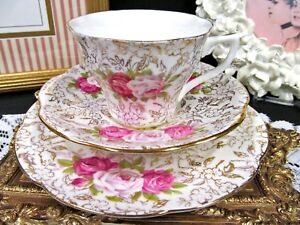 Rosina Thornton Crown Ware Tea Cup And Saucer Chintz Roses Rose Teacup Pattern