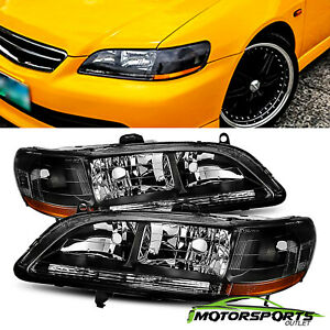 Fit 1998 2002 Honda Accord Black Jdm Style Replacement Headlights Pair