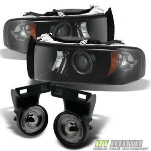 1994 2001 Dodge Ram Halo Projector Led Headlights Smoked Halo Fog Lights Lamps