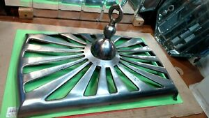 Vintage Victorian Pot Belly Stove Top Chromed Finial Cast Iron Rectangluar