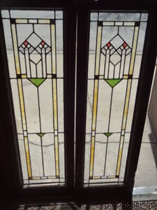 Pair Of Antique Stained Clear Leaded Glass Doors Windows 48 X 16