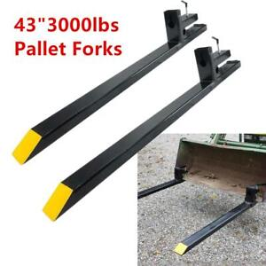 43 Clamp On Pallet Forks 3000lbs Capacity For Loader Bucket Tractor Heavy Duty