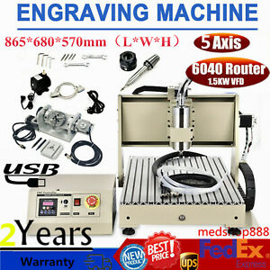 Usb 6040 5axis Cnc Router Engraver 1500w Metal Carving Engraving Milling Machine