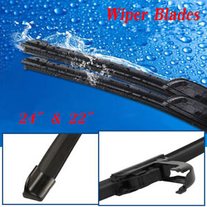 24 22 Front Windshield Wiper Blades J Hook Bracketless Oem Quality Jointless