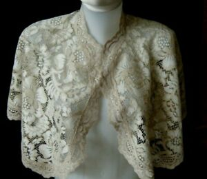 Vtg Bridal Cape Bertha Collar Bobbin Lace Beautiful Design H Done Europe