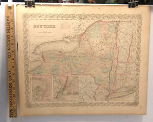 Antique Hand Colored Engraving Map New York State 1859 Colton S General Atlas