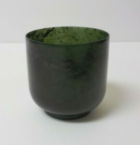 Antique Chinese Carved Spinach Green Jade Cup