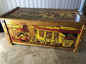 Vintage Antique Wood Toy Box Chest Circus Parade Animal 1960 S Very Loved