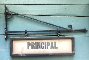 Antique Wrought Iron Glass Hanging Sign Principal Collectible Advertising