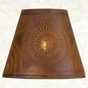 Country New Distressed Rusty Tin Punched Chisel Lamp Shade