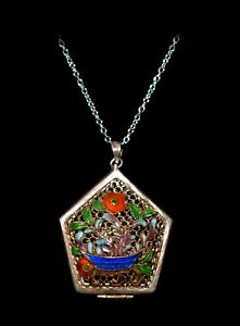 Pretty Antique Floral Enamel Vinaigrette Double Sided Sterling Pendant Necklace