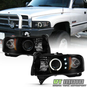 Black Smoked 1994 2001 Dodge Ram 1500 Led Halo Projector Headlights Headlamps