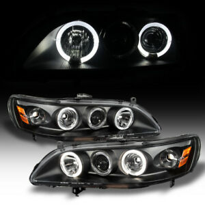 For Black 1998 2002 Honda Accord 2 4dr Led Halo Projector Headlights Left Right
