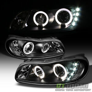 Black 1997 2003 Chevy Malibu Led Drl Halo Projector Headlights Left Right Lamps