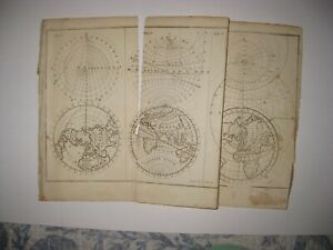 Antique 1792 World Eastern Western Hemisphere Asia United States Copperplate Map