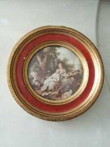 Vintage Miniature Gold Tone Frame Gb Florence Italy 50s G Hilair Music Lesson