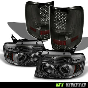 2004 2008 Ford F 150 Smoke Halo Projector Headlights smoke Led Tail Lights L r