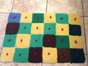 Hand Made Wool Quilt Like Mat Rug For A Doll House