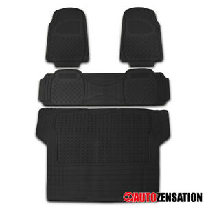 4x Pvc Heavy Duty 3d Print Truck Suv Car Floor Mat Trunk Cargo Liner Black