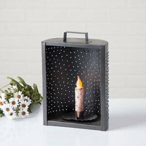 Smokey Black Punched Tin New Mantle Candleholder