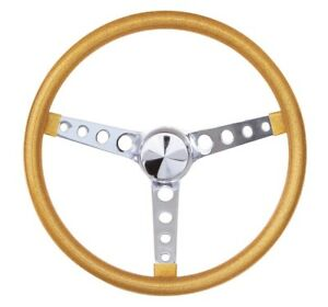 15 Mooneyes California 3 spoke 4 hole Steering Wheel Gold Metal Flake Gs280cmgo