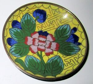 Vintage Chinese Cloisonne Small Dish Peony On Yellow Blue Back