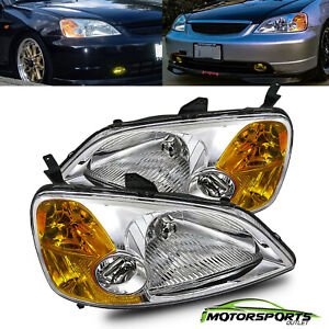 For 2001 2003 Honda Civic Sedan Coupe Dx Lx Ex Factory Style Chrome Headlights