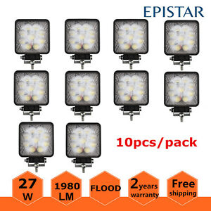 10x 27w Square Flood Led Work Light Offroad Boat Tractor Atv Fog 4inch Truck 5d