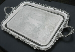 Antique Silver Plated Larger Tea Serving Tray Chased
