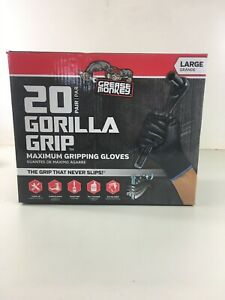 New Grease Monkey Gorilla Grip Maximum Gripping Gloves Size L 20 Pack Read Desc