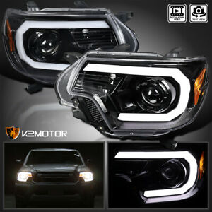 Jet Black For 2012 2015 Toyota Tacoma Led Drl Bar Projector Headlights Pair