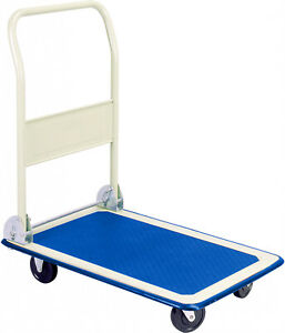 Rolling Folding Flatbed Cart For Up To 300 Pounds Platform Push Truck Blue