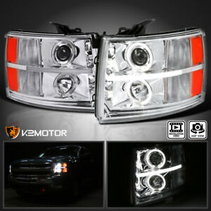 Fits 2007 2014 Chevy Silverado 1500 2500 3500 Led Drl Halo Projector Headlights