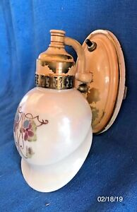 Antique Victorian Edwardian Painted Glass Pansy Shade Wall Sconce Light Lamp