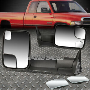 Manual Rear View Foldable Towing Square Blind Spot Mirror For 94 01 Dodge Ram