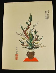 Meiji Era March 25 1909 Japanese Woodblock Ikebana Print 11
