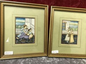 Indian Antique Mogul Painted Miniatures X2 19 Th C