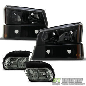 2003 2006 Chevy Silverado 1500 Black Smoke Headlights W Bumper Lamps Fog Lights