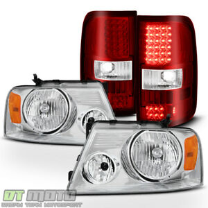 2004 2008 Ford F150 Headlights Headlamps red Clear Led Tail Lights Brake Lamps
