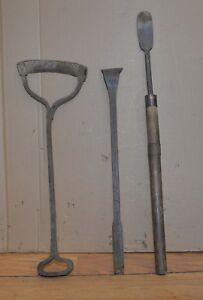 3 Antique Blacksmith Forged Scrapers Collectible Farm Tool Farriers Early Lot