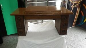 Antique Singer No 6 Treadle Sewing Machine Cabinet Top 7 Drawer Embossed