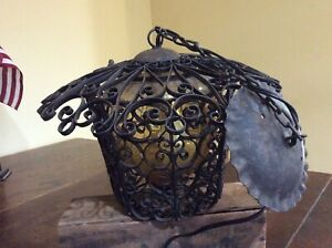 Vintage Hanging Entry Light Ceiling Fixture Amber Glass Ornate Filigree Metal