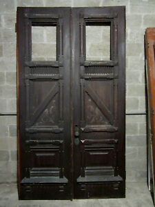 Magnificent Antique Carved Oak Double Entrance French Doors 60 X 107 Salvage
