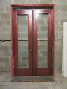 Antique Mahogany Double Entrance French Doors With Frame 48 X 82 Salvage