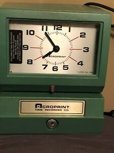 Acroprint Time Card Clock In Out Recorder Stamp 150nr4 Tested No Keys