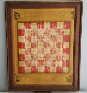 Antique 19th C Hand Painted Folk Art Game Board Checkers Right As Rain